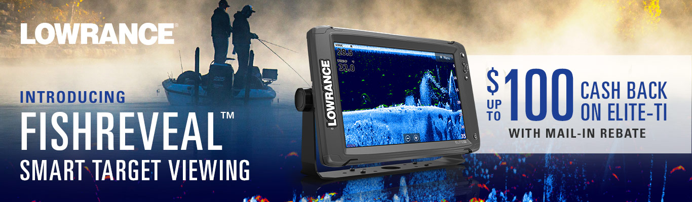 Lowrance. Introducing Fishreveal Smart Target Viewing. Up To $100 Cash Back on Elite-Ti with Mail-In Rebate