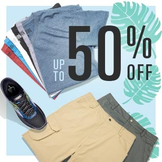 Up To 50% Off Shirts, Shorts, Footwear and more