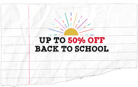 up to 50% off back to school
