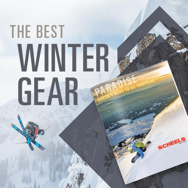 The Best Winter Gear, Image of people skiing and snowboarding on a mountain and a printed winter sports catalog