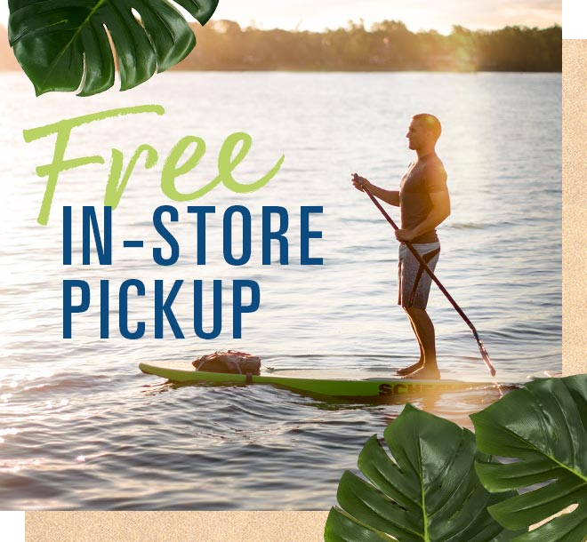 Free In-Store Pickup, Image of Stand Up Paddle Board on Lake