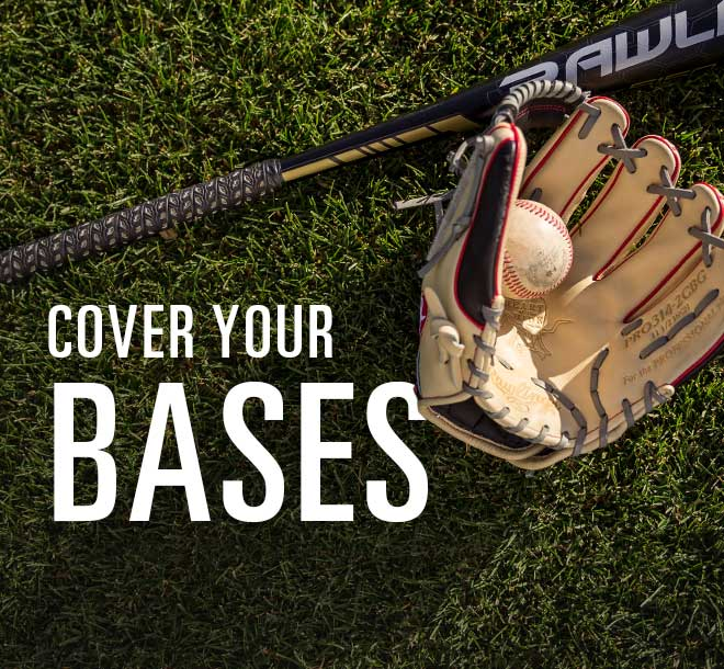 Cover Your Bases, Image of baseball glove and bat