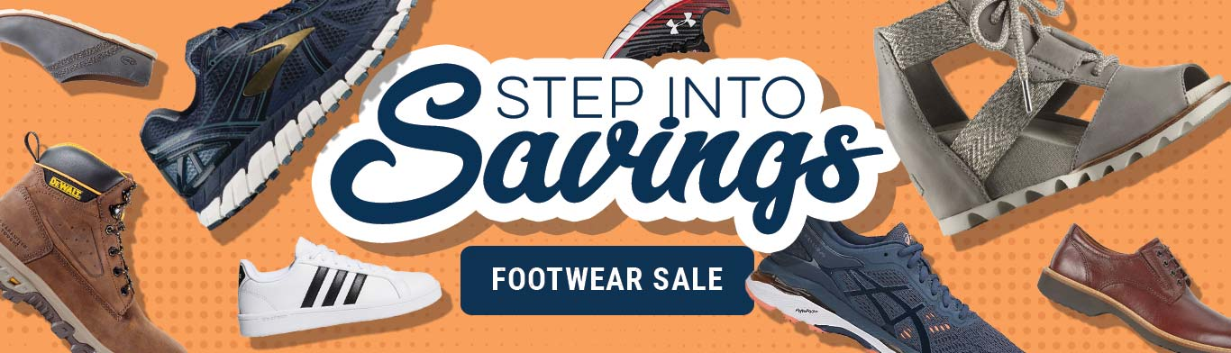 Step Into Savings Footwear Sale. Shoes and boots from adidas, Brooks, Sorel, Under Armour, Asics, Chacos, DeWalt, and more