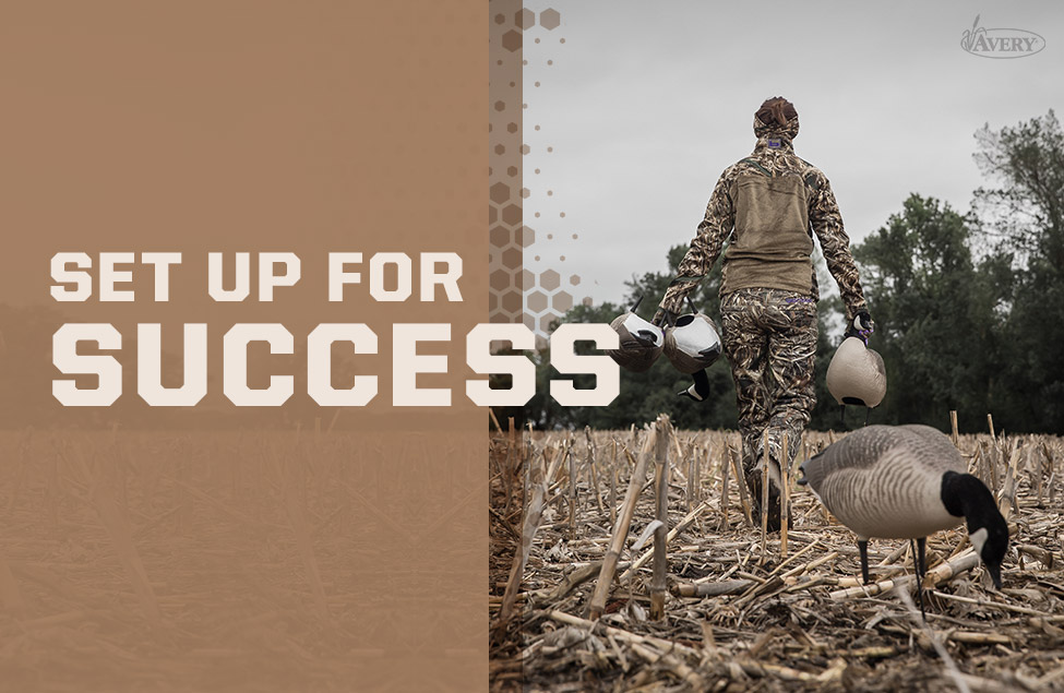 Set Up for Success, Hunter placing goose decoys