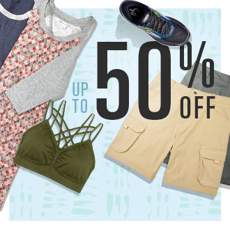 Up To 50% Off, Women's and Men's Shorts, Shirts, Footwear, and more