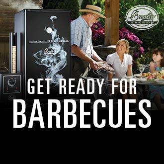 Get Ready For Barbecues, Image of Bradley Smoker and Family Eating