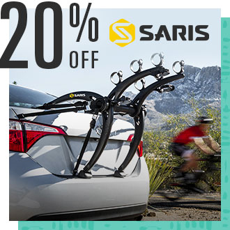 20% Off Saris, Image of Bike Rack on Car