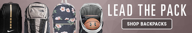 Lead the Pack, Shop Backpacks. Image of Nike Hoops Elite, The North Face Recon, Under Armour Undeniable with basketball inside, and Vooray floral backpack.