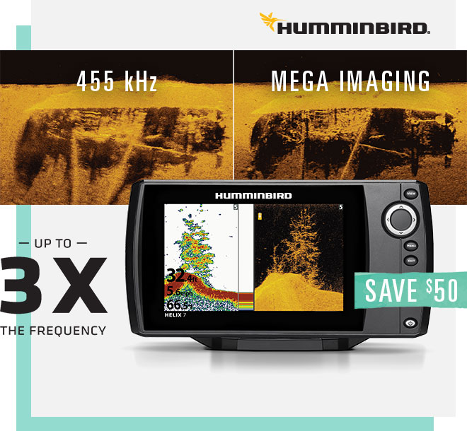 Humminbird Save $50 on Helix 7 Chirp DI GPS G2 Locator, 455 kHz vs Mega Imaging up to 3X the Frequency