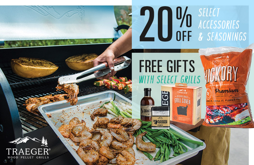 20% Off Select Accessories and Seasonings, Free Gifts with Select Grills, Image of Traeger Wood Pellet Grills