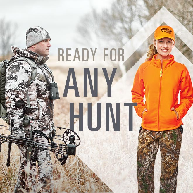 Ready for Any Hunt, hunters wearing camo and blaze orange