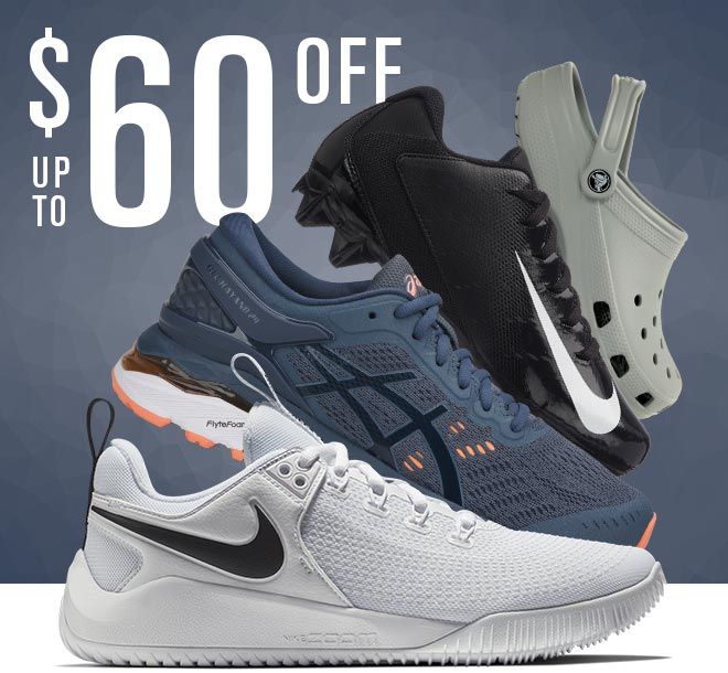 Up To $60 Off, Image of Nike Hyperace and Football Cleat, Asics Gel-Kayano, and Crocs Classic
