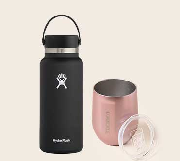 Hydro Flask Bottle and Corkcicle Stemless Wine Glass
