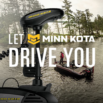 Let Minn Kota Drive You, Image of Fishing Motor and Boat on Lake