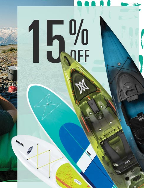 15% Off, Image of Kayaks and Paddleboards
