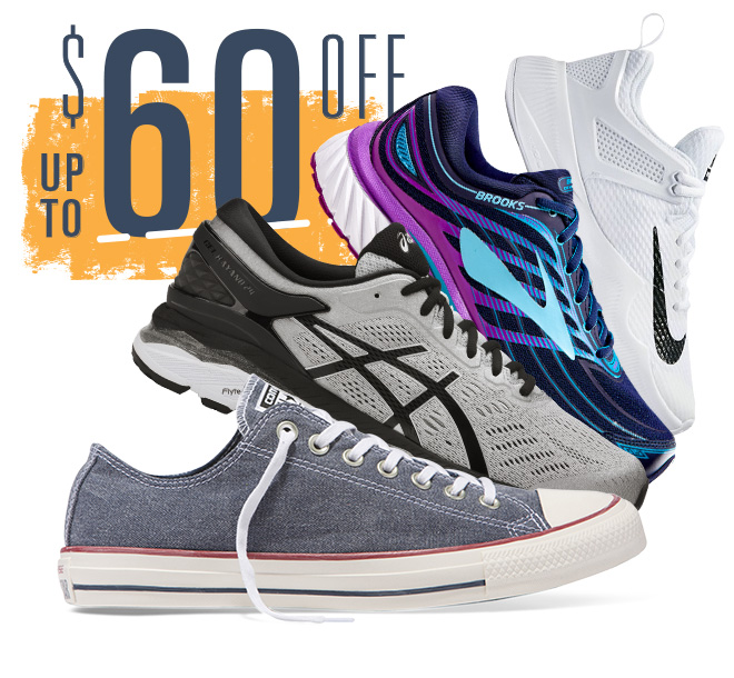 Up To $60 Off, Footwear from Converse, Asics, Brooks, Nike and more