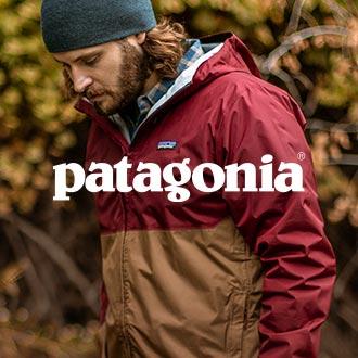 Patagonia logo, man wearing a patagonia jacket