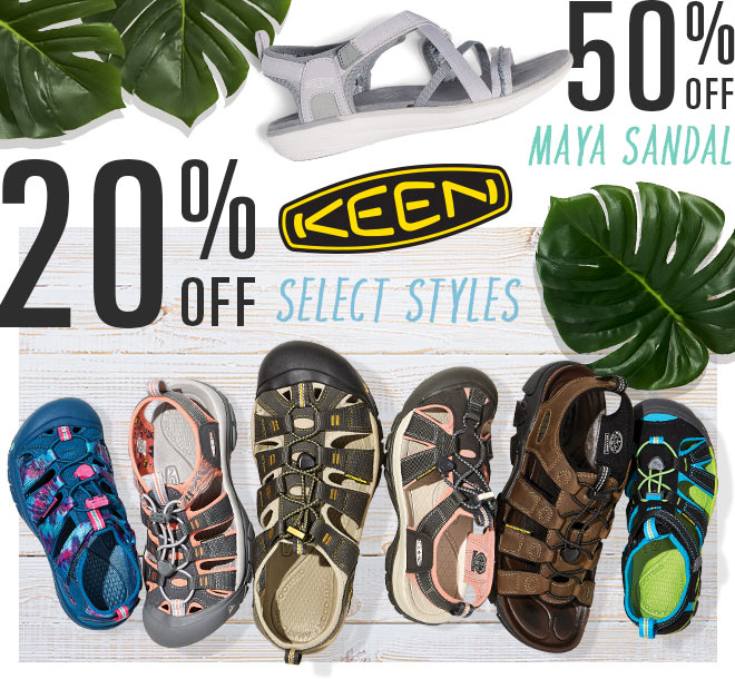 20% Off Select Styles KEEN Footwear, 50% Off Maya Sandal