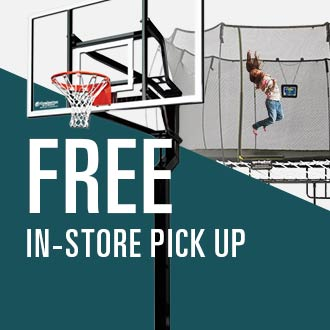 Free In-Store Pick Up, Image of Basketball Hoop and Trampoline