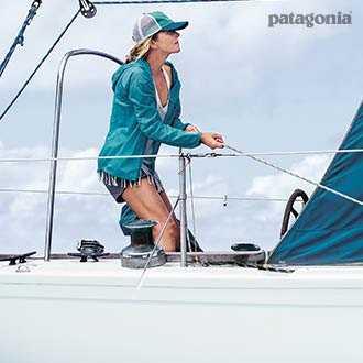 Woman Wearing Patagonia on a Boat