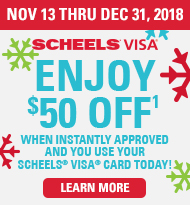 Enjoy $50 off when instantly approved and use your Scheels visa today!