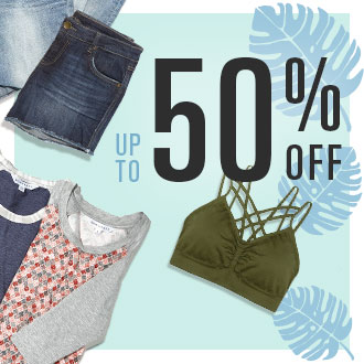 Up To 50% Off Bralettes, Tops, Shorts, and more