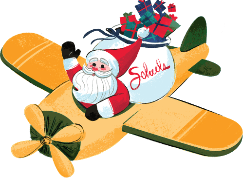 Santa flying a SCHEELS plane carrying toys and presents